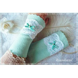 Walkstulpen A DREAM in MINT Brautstulpen Spitze Rose