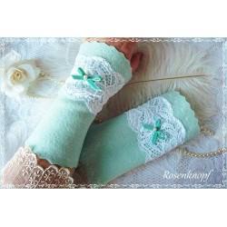 Walkstulpen Brautstulpen Mint Weiß