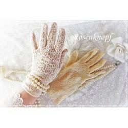 Brauthandschuhe Gr.S-M Tüllhandschuhe Puder Vintage