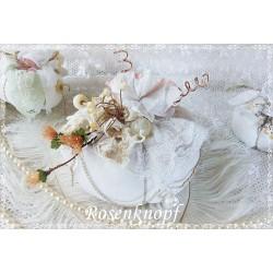 KÜRBIS Stoff Shabby Weiß Spitze Gr.2 Perlen Herbst Nr.2