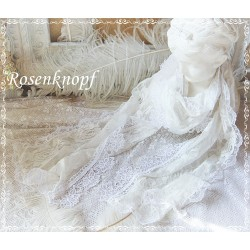 Brautschal SISSI Ivory Weiß Rosa Spitze Schal Tuch Hochzeit
