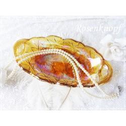 GLASSCHALE Goldgelb Shabby Glas Schale Vintage Brocante Tischschmuck 1950 Geschenk Antik E+K