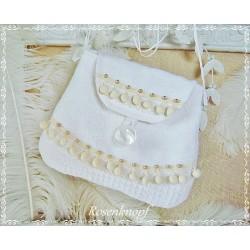 Tasche LACE on LINEN Brauttasche Weiß Leinen Perle