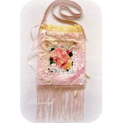 HANDTASCHE Brauttasche Tasche Damenhandtasche Abendtasche Umhängetasche UNIKAT Rosa Ivory Rose Spitze E