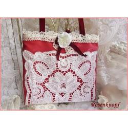 HANDTASCHE Brauttasche Tasche Damenhandtasche Umhängetasche Schultertasche Dunkelrot Weiß Rose Spitze Frauen UNIKAT E