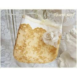 TASCHE Brauttasche Handasche Abendtasche Damentasche UNIKAT Weiß Goldgelb Ivory Tüllspitze Rose Spitzen E
