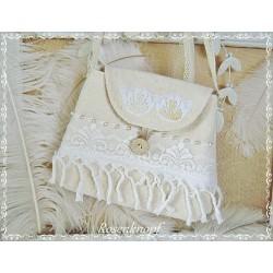Tasche LACE on LINEN Brauttasche Ivory Spitze Weiß
