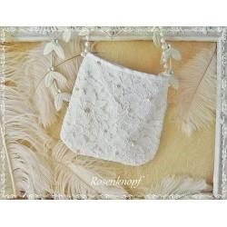 Handtasche Brauttasche Weiß Spitze
