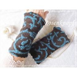 Walkstulpen Braun Blau Relief Damen E K