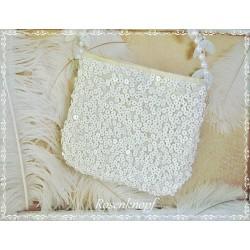 Handtasche  Brauttasche Ivory Pailletten