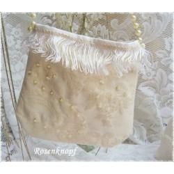 TASCHE Brauttasche Ivory Pailletten Stickerei Handtasche Damenhandtasche Umhängetasche UNIKAT Braut Hochzeit E