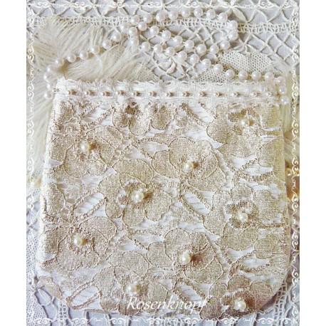 Handtasche Braut Silber Ivory Weiß Spitzen  E