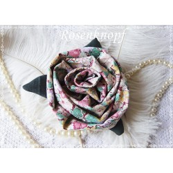 Ansteckblüte GROßE ROSE Bunt Brosche Stoffbrosche