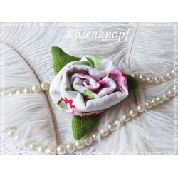 Ansteckblüte KLEINE ROSE Brosche Rosa Weiß Brautschmuck