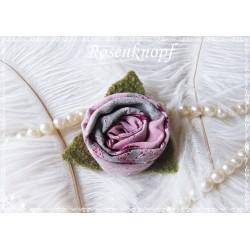 Ansteckblüte KLEINES RÖSCHEN Brosche Rosa Weinrot Beige Stoff Schmuck