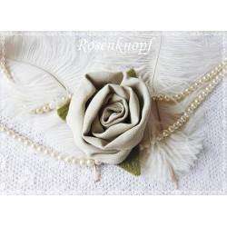 Ansteckblüte GROßE ROSE Beige Brosche Brautschmuck