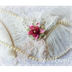 Brosche BUTTERFLY Anstecker Ivory Pink Spitze