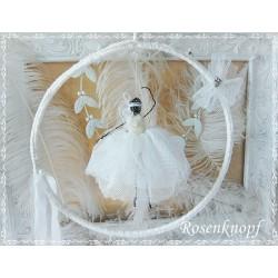 BALLERINA Weiß Shabby Stil Brocante Tänzerin Tüll Draht Tütü Ballett Geschenk Mobile Windspiel Fensterdekoration K