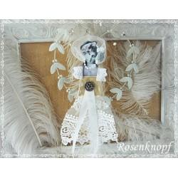 Figur BELLE FEMME Weiß Tüll Perlen Spitze Shabby Vintage