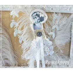 Figur BELLE FEMME Weiß Gold Tüll Perlen Spitze Shabby Vintage