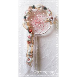 TRAUMFÄNGER Dreamcatcher Windspiel Mobile Shabby Stil Weiß Apricot Petrol Perlen Blüten Rund UNIKAT Nr.15 E