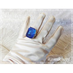 Modeschmuck Ring ROYAL Silberfarben Blau Glasstein