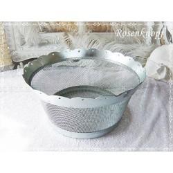OBSTSCHALE Schale Silber Servierschale Metallkorb Drahtkorb Drahtschale Vintage Shabby Metall 1980ger  E