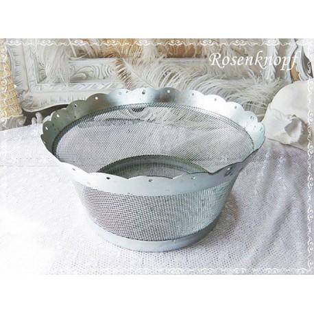 Große SCHALE Weißblech Silberfarben Rund Shabby