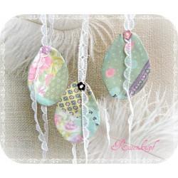 5er Set Stoff-Ostereier PASTELL Textil Ostern Anhänger Ei