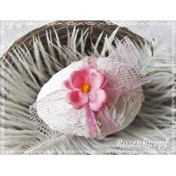 OSTEREI Weiß Rosa Shabby Blume Spitze Tüll Ei