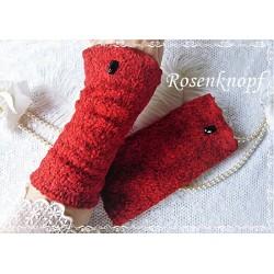 Wollstulpen Rot Bouclé Damen