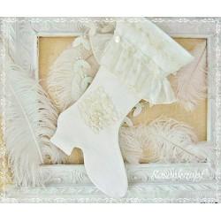 NIKOLAUSSTIEFEL Ivory Shabby Stil Vintage Leinen UNIKAT Weihnachten Deko Tüll Perlen Knöpfe Wohndekoration K