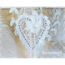 Herz aus Draht Spitze Weiß Perlen Shabby Vintage
