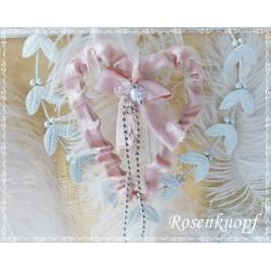 Herz aus Draht Spitze Altrosa Silber Perlen Shabby Vintage