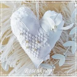 Herz SPITZENSPIEL Weiß Leinen Perlen Spitzentüll