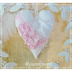 Herz SPITZENSPIEL Weiß Rosa Leinen Perlen Spitze