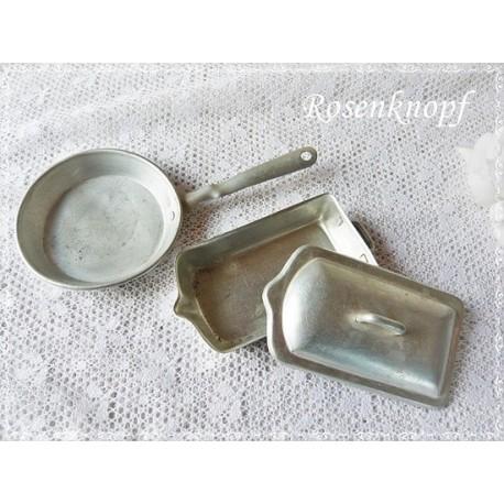 Puppenküche BRÄTER PFANNE Antik Aluminim