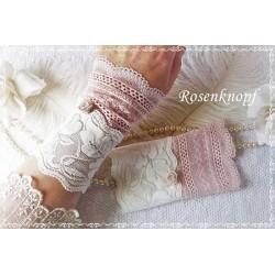 Spitzenstulpen CHANTAL Brautstulpen Rosa Weiß Spitze