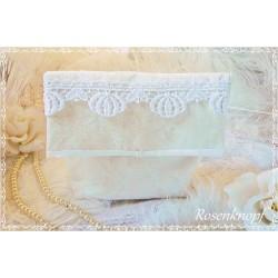ETUI Leinen UNIKAT Ivory Utensilo Kulturbeutel Etui Badtasche Kosmetiktasche Spitze Vintage Shabby Weiß Handarbeit Geschenk E+K