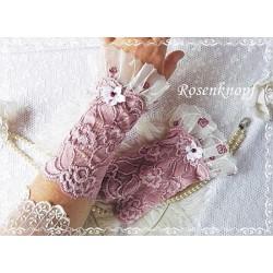 STULPEN Brautstulpen Armstulpen Spitzenstulpen Damenstulpen Handstulpen Pulswärmer Rosa Weiß Tüll Frauen Hochzeit E+K