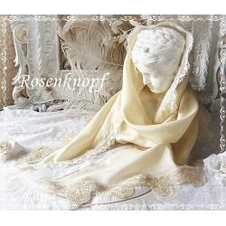 RESERVIERT SCHAL Seide Ivory Weiß Spitze Braut Stola
