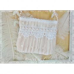 TASCHE Brauttasche Puder Rosé Weiß Spitze UNIKAT Handtasche Damenhandtasche Abendtasche Perlen Balltasche E+K