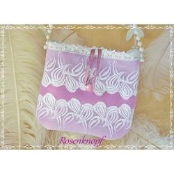 Handtasche Braut Pink Weiß Spitze