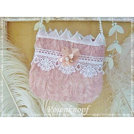 87ef482e34ab0 Tasche MADJA Brauttasche Rosa Weiß Spitze Perlen
