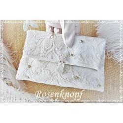 CLUTCH Brautclutch Brauttasche Handtasche Damenhandtasche Abendtasche Ivory Florale Spitze Braut Hochzeit E