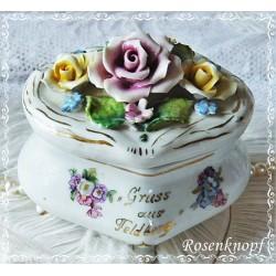 PORZELLANDOSE Weiß Rosen