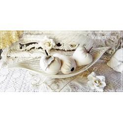OBSTSCHALE Blattform Vintage Ivory Shabby Eisen