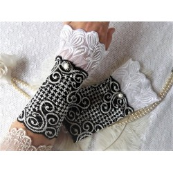 Spitzenstulpen Armstulpen Schwarz Weiß