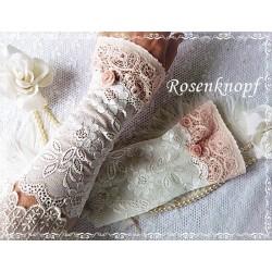 Spitzenstulpen Armstulpen Weiß Rosa