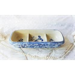 Shabby KAMMSCHALE Keramik Vintage Creme Blau Rarität